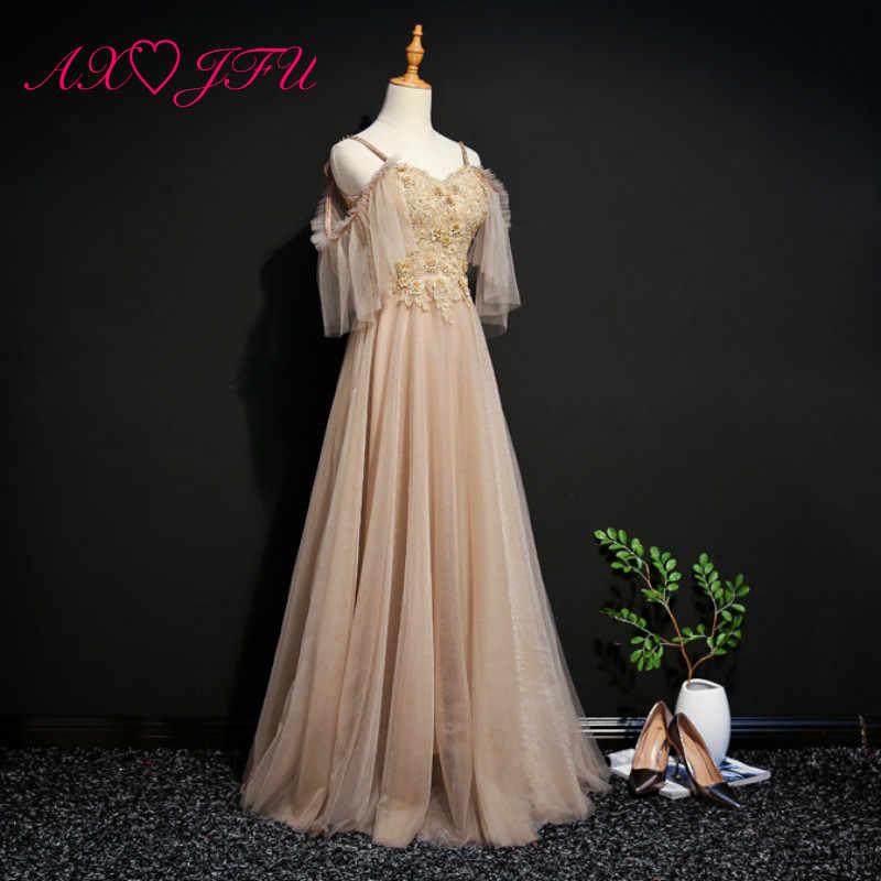 AXJFU принцесса милое Золотое кружевное роскошное вечернее платье винтажное с отделкой бусинами Хрустальная Линия вечерние сценические золотые вечерние платья