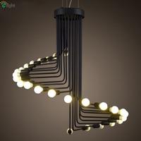 Post Modern Painted Iron Black Led Spiral Chandelier American Loft Industrial Lustre Chandelier Lighting For Bar