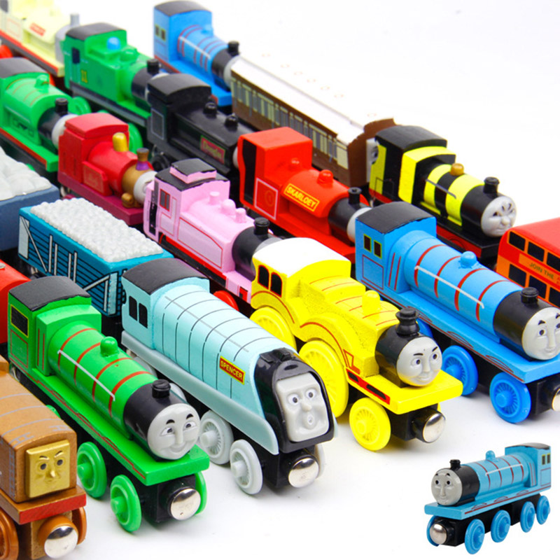 5Pcs/Set Magnetic Wooden Car Anime Wooden Railway Trains Toy Model Kids Toys for Children Christmas Gifts Toy 2017