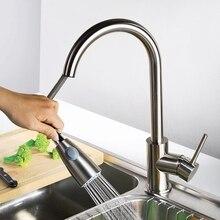 Современный латунь матовый никель вытащить кухня умывальник кран спрей миксер краны, 360 градусов шарнир тянуть вниз опрыскиватель затычка