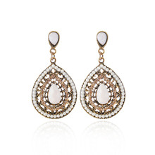 European and American retro pendant earrings female national water drops multicolor beads big bohemian jewelry