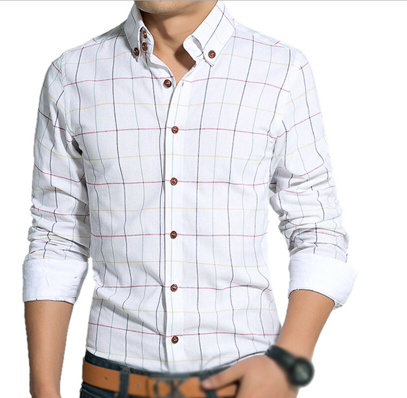 Popular plaid shirts men buy cheap plaid shirts men lots for Best place to buy mens dress shirts