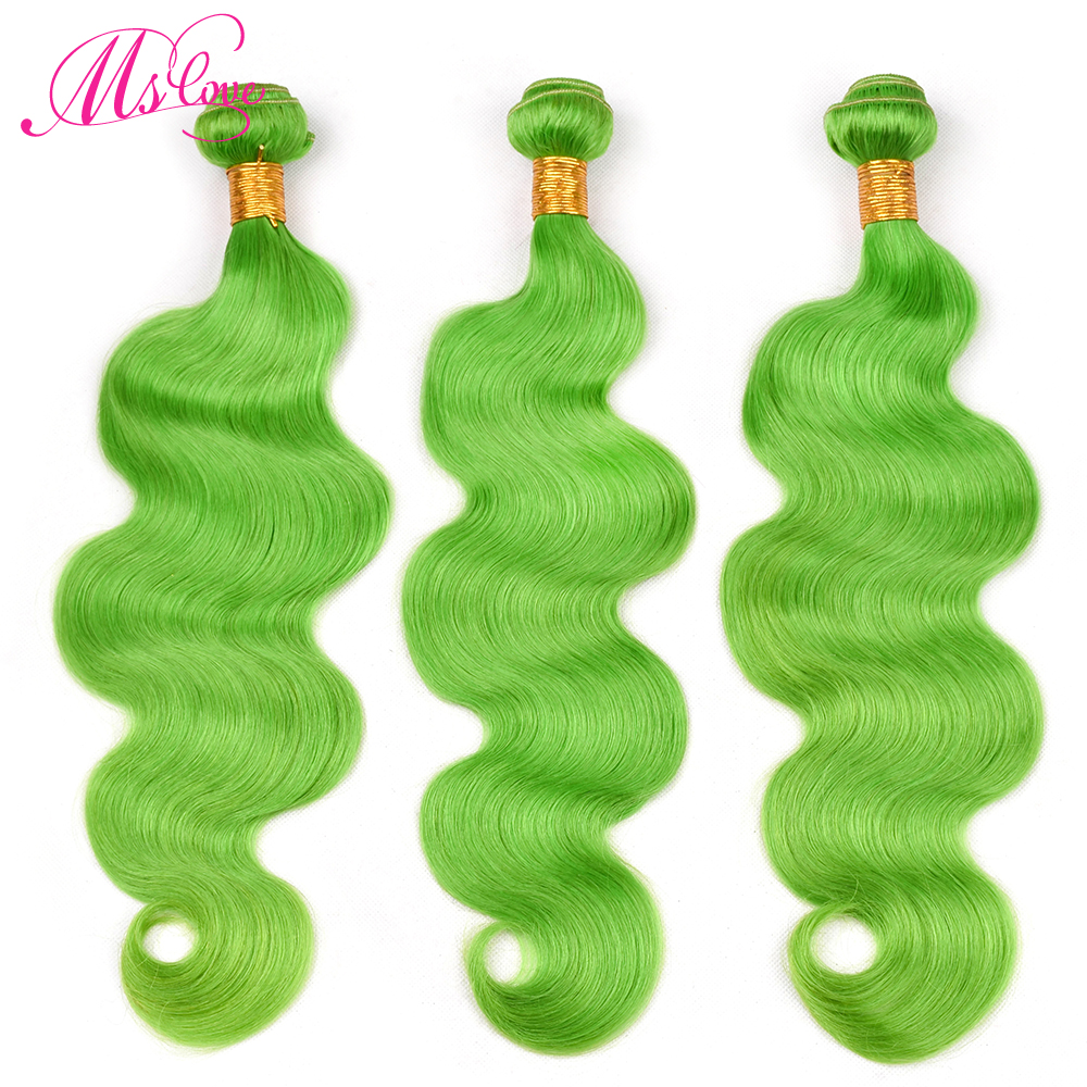 Ms Love Pre Colored Green Bundles With Lace Frontal Closure Body Wave Remy Peruvian Human Hair With Lace Frontal 13x4 inch