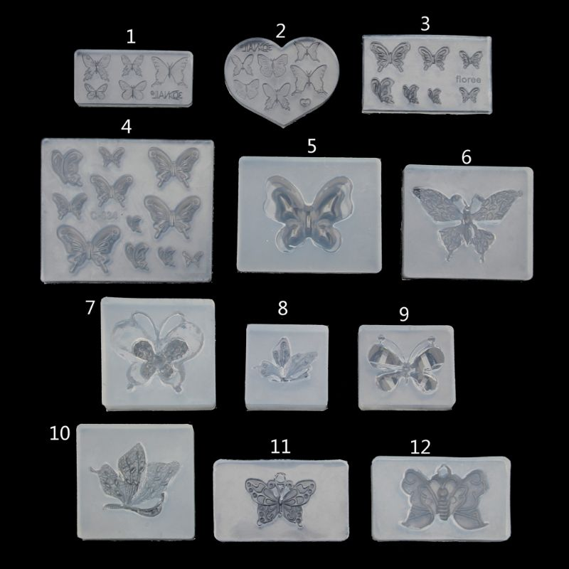 12 Styles Cute Butterfly Silicone Resin Molds Earring Necklace Pendant Jewelry Tools