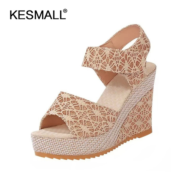 3ec02c8f27f Women Platform Sandals 2019 Summer Wedges Shoes Woman Lace Design Sexy High  Heels Female Fashion Rome Sandal Ladies Footwear
