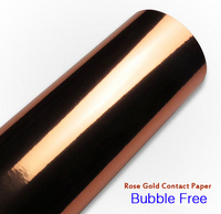 Alta Lucentezza a specchio Oro Rosa Carta di Contatto Rotolo Bubble Vinile Autoadesivo Carta Da Parati Peel Sticker Decor