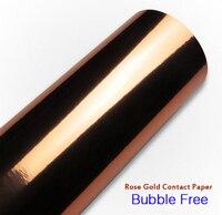 Hochglanz gespiegelt Rose Gold Kontakt Papier Rolle Blasenfreies Vinyl Selbstklebende Tapete Schälen Aufkleber Decor