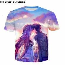 PLstar Cosmos Latest design anime t shirt Anime Sword Art Online T-shirts SAO Kirito and Yuuki Asuna 3d print Women Men t