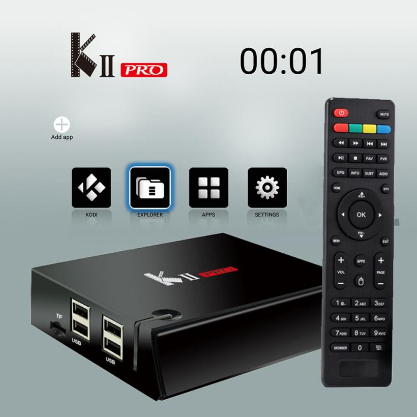 Binmer Equipments TV Receivers Set Top Box KII Pro DVB S2 DVB T2 + S2 Android 5.1 TV BT4.0 2G/16G WIFI TV Box dec28 mecool kiii pro dvb t2 s2 tv box rii i8 black