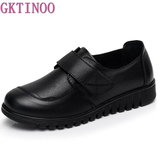 GKTINOO Frauen Flache Schuhe Weiche Echtes Leder Mutter Schuhe Komfort Casual Schuhe Weibliche Herbst Frauen wohnungen