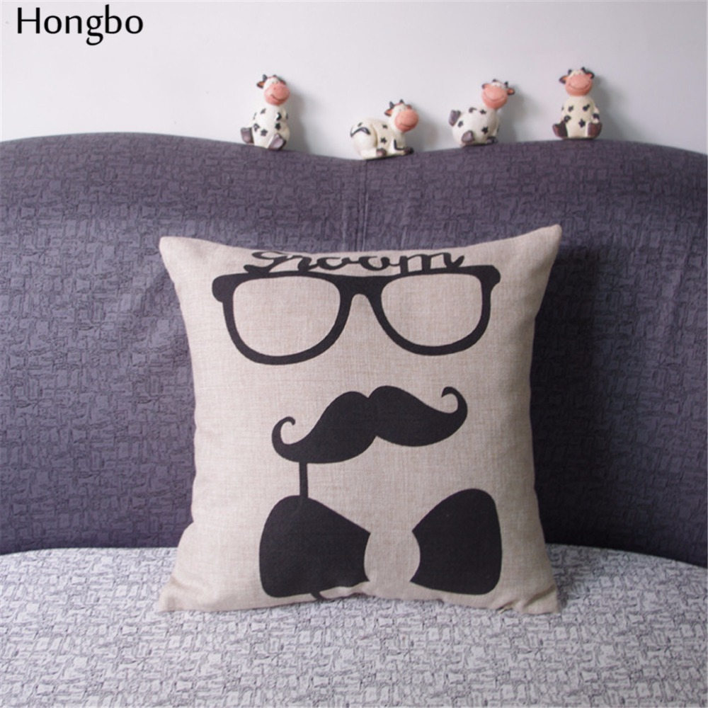 Hongbo New Fashion Line Moustache Lips Printed Pillow Case Wedding