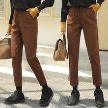 2018 Autumn Winter New Women's Thick Woolen Harem Pants Female Ankle Length Casual Loose Ladies Pantalon Black Gray Pencil Pants
