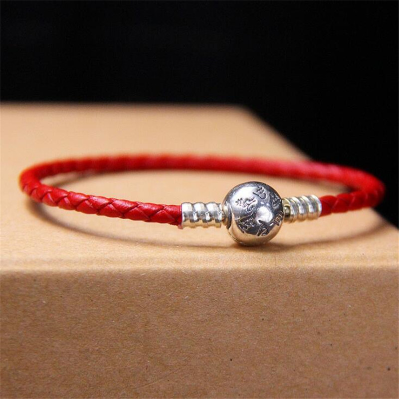 Authentic <font><b>925</b></font> Sterling Silver Moments Single Braided Real Leather Charm <font><b>Bracelet</b></font> Fit Women Original <font><b>Pan</b></font> Bead Bangle DIY Jewelry image