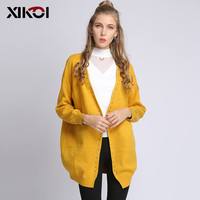XIKOI Autumn Winter Fashion Women Long Sleeve loose knitting cardigan sweater Women Knitted Female Beading Cardigan pull femme