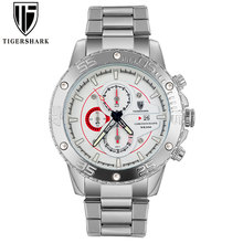 2016 new TIGERSHARK brand luminous silver dial watches men sport chronograph 30M waterproof date stainless steel