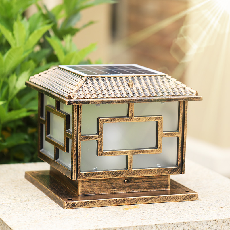 Солнечный столб cap фары открытый фонаря ретро водонепроницаемый ржавчины освещение алюминиевый капитель огни сад столп лампы