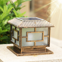 solar post cap lights outdoor lantern lamp retro waterproof rust lighting aluminum chapiter lights garden pillar lamp