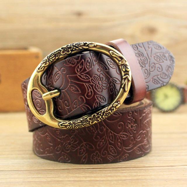 BooLawDee Retro pin floral de mujer cinturón de hebilla de 3.2 cm ancho 115 cm longitud genuino vacuno amarillo café negro rojo blanco verde 8C056