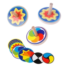 Vintage Kids Toy Solid Wood Spinning Top Gyroscope Classic Game Paper Cover