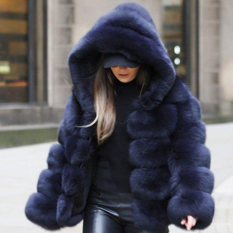 f93a065b68e UPPIN 2018 Winter Thick Warm Faux Fur Coat Women Plus Size Hooded Long  Sleeve Faux Fur