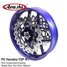 ФОТО arashi one set front wheel rim for yamaha yzf r1 2015 2016 +2pcs front brake discs rotors