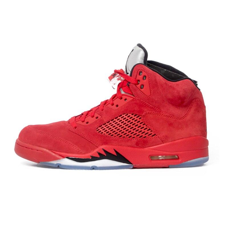 Jordan 5 chaussures de basket homme femme Homme Rouge Ailes En Daim Élevés Noir Violet ciment blanc 2019 baskets d'extérieur