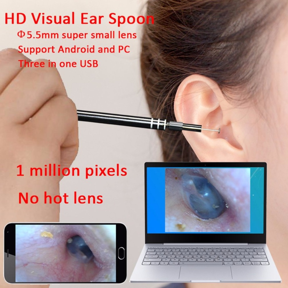 3-in-1 HD Visual Ear Spoon USB Type-c Ear Cleaning Tool In-ear Cleaning Endoscope Earpick With Mini LED Camera Pen 3 in 1 sucker filter mixing spoon with cleaning brush