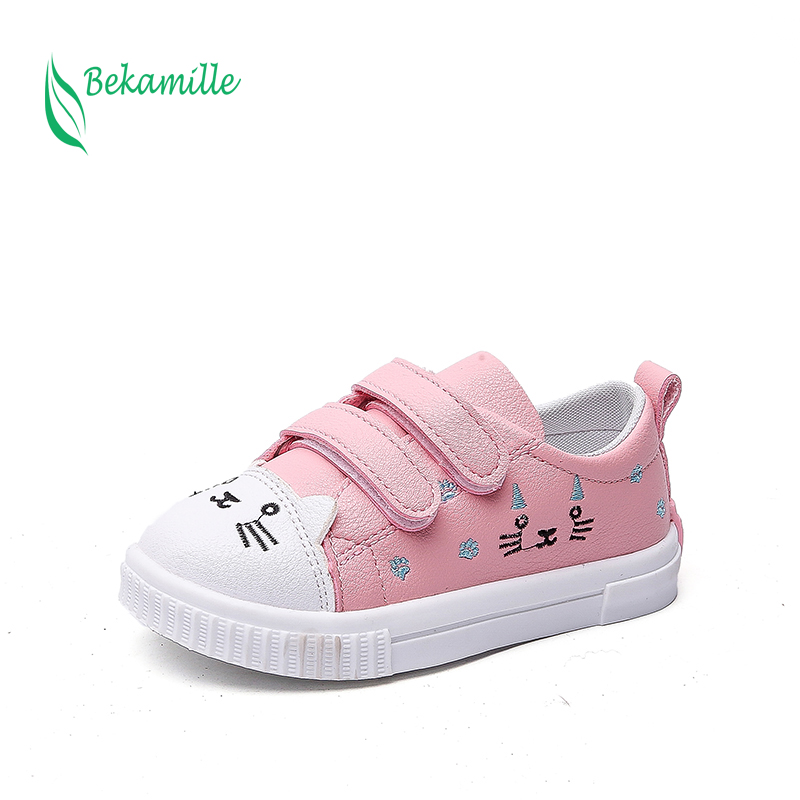 Bekamille Children Sport Shoes Fashion Cartoon Cat Casual Sneakers Kids Shoes For Girls Princess Student Running Shoes 2 Colors