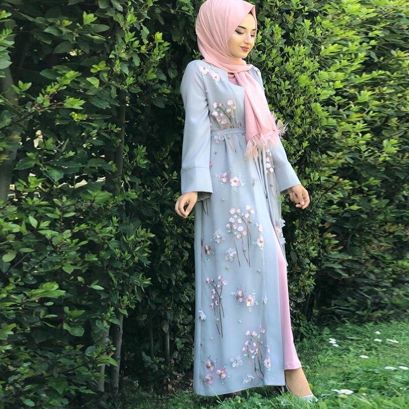 Floral Abaya Dubai Kimono Muslim Hijab Dress Abayas For Women Kaftan Caftan Marocain Prayer Turkish Islamic