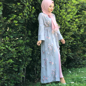 Image 4 - Floral Abaya Turkish Kimono Dubai Muslim Hijab Dress Abayas For Women Kaftan Caftan Marocain Prayer Islamic Clothing Robe Femme