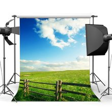 Rustic Farmland Backdrop Shabby Wood Fence Green Grass Meadow Wheat Field Backdrops Blue Sky White Cloud Background