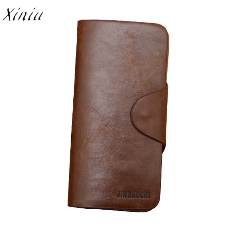 Herren-accessoires Luxury High Quality Mens Leather Bifold Long Wallet Card Holder Purse Clutch