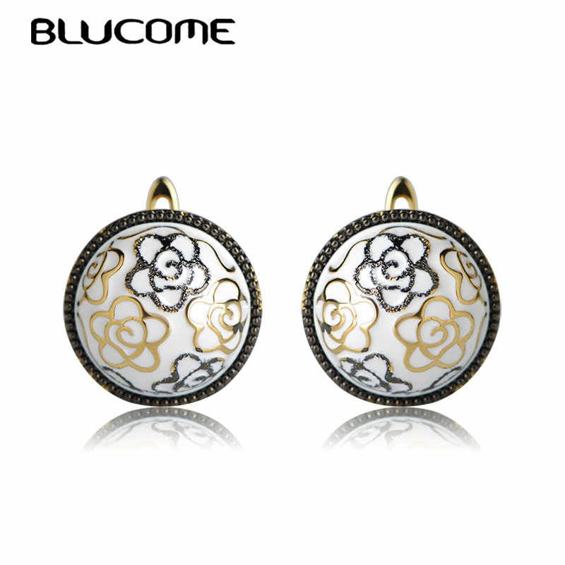 Blucome Fashion Dubai Style Flower Shape Enamel Round Earrings Gold Color Small Copper Stud Earrings For Women Party Bijuterias