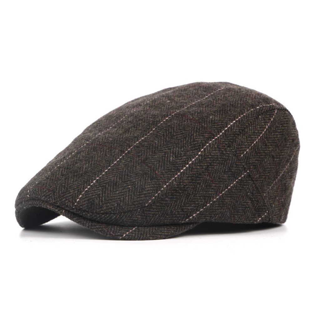 31663a0b44f ... England Style Mens Berets Wool Blend Ivy Cap Tweed Herringbone Newsboy  Gatsby Flat Winter Warm Hat ...