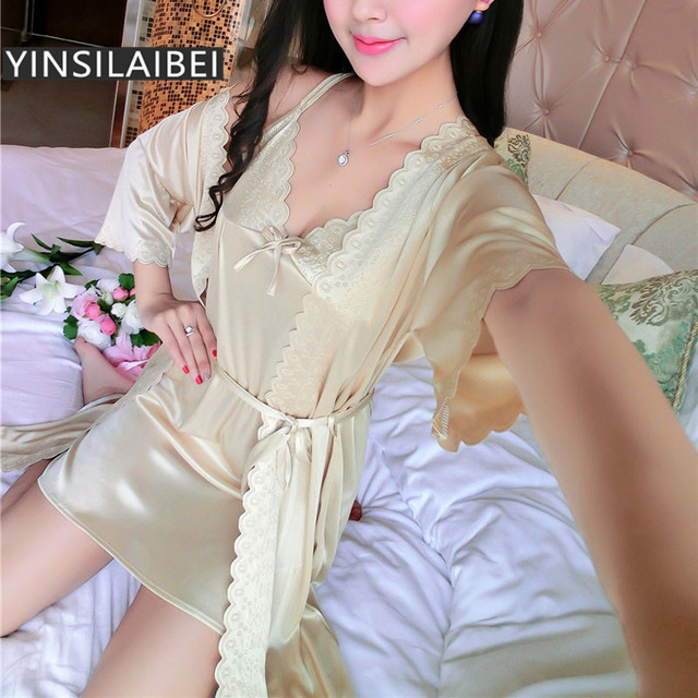 YINSILAIBEI Thin Summer Women s Plus Size Sexy Sleepwear Ice Silk Satin  Nightgown 98a800e26c4d