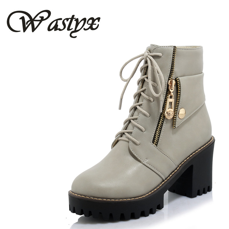 Wastyx Fashion boots 2017 spring autumn buckle ladies shoes high heels boots round toe platform lace up ankle boots for woman 2016 custom made fashion brown short ankle boots for women pointed toe lace up platform thin heels stiletto ladies buckle boots
