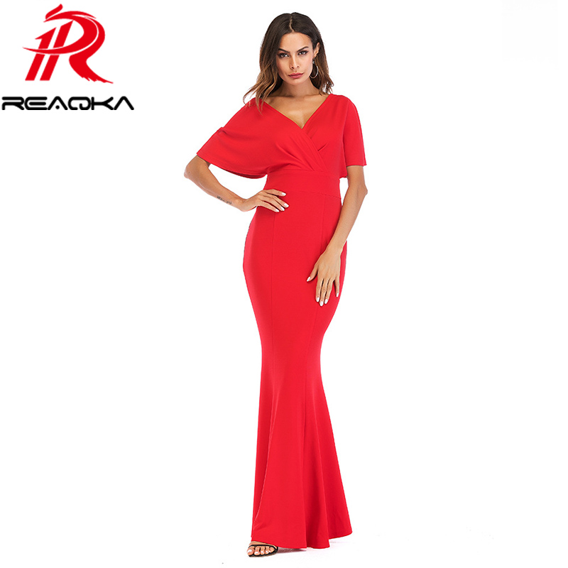 2ead041279 Detail Feedback Questions about 2018 New Red Blue Black Summer Maxi Dress  Women Deep V neck Batwing Sleeve Backless Slim Sundress Sexy Club Party  Dresses on ...