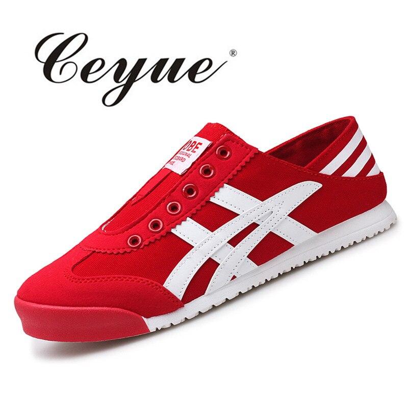 Prix pour Ceyue Femme Planche À Roulettes Chaussures Respirant Toile Sneakers Femmes Plates Chaussures De Sport Zapatillas Mujer Superstar Rouge Skate Chaussures