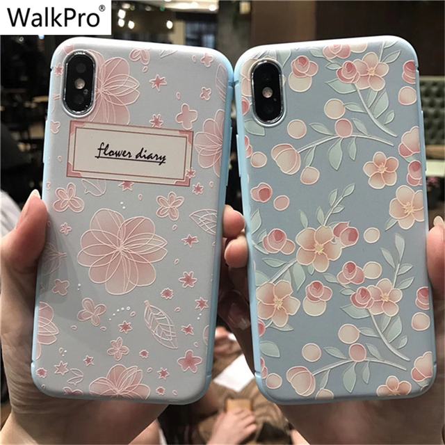 newest 5687f a44ae US $4.99 |WalkPro Phone cases For iPhone X 8 case cover Silicone Soft TPU  3D flower Relief Painted 6 6S 7 Plus cover Women Girls case Rose-in ...
