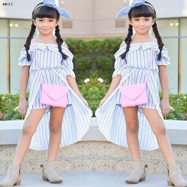 be389557914 Striped Dress For Girls Strapless Off Shoulder Princess Summer Beach Dresses  Vestido Kids Children Clothes 3 4 6 7 8 10 12 Years