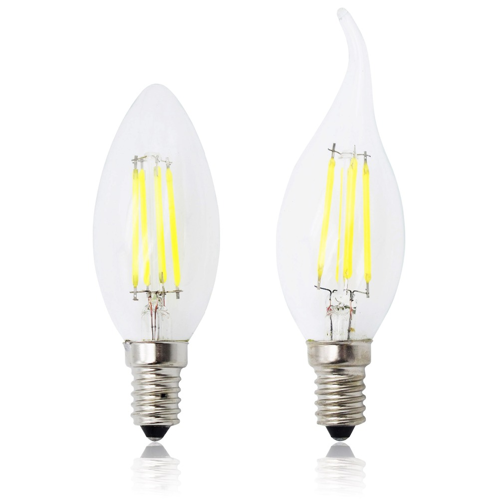 Energy Saving Dimmable E14 LED Filament C35 Lamp C35L Glass Candle Bulb 4W 8W 12W Replace Incandescent Light Chandeliers AC 220V