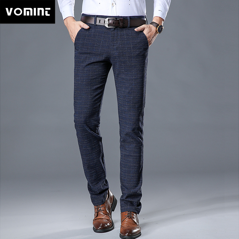 VOMINT 2020 New High Quality Men's Elastic Casual Pants Mens Business Dress Slim Jogger Stretch Long Trouser Male Suit Pants