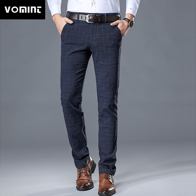 VOMINT 2020 New High Quality Mens Elastic Casual Pants Mens Business Dress Slim Jogger Stretch Long Trouser Male Suit Pants