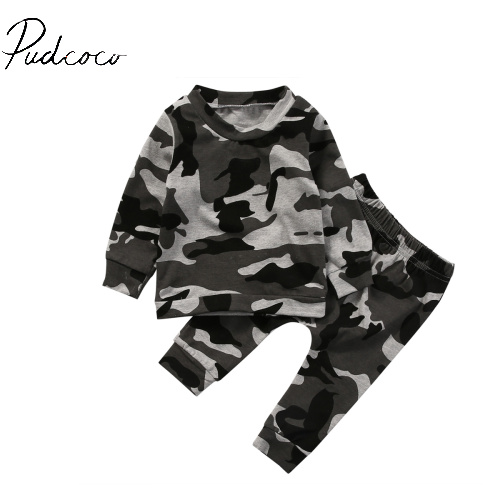 pudcoco 2pcs long sleeve o-neck Camouflage Newborn Toddler Infant Baby Boy Girl Clothes T-shirt Tops+Pants Outfits Set 6-24M mother daughter coffee color trumpet sleeve long t shirt family clothes toddler girls autumn o neck tops mom son fashion t shirt