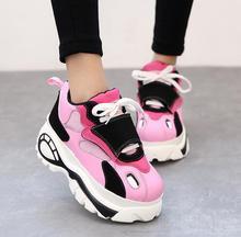 Nuevo 2017 Harajuku plataforma zapatos casuales ascensor panecillo gruesa suela de zapato cesta moda pisos zapatos mujer