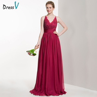 Dressv Red Long Bridesmaid Dress V Neck Sleeveless A Line Lace Pleats Sweep Train Custom Wedding