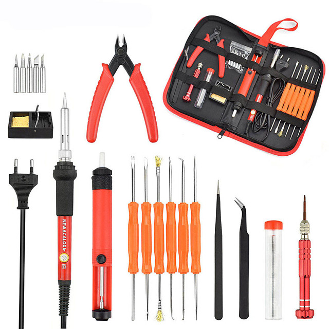 NEWACALOX EU/US 60W Thermoregulator Soldering Iron Kit Screwdriver Desoldering Pump Tin Wire Pliers Welding Tools Storage Bag 2