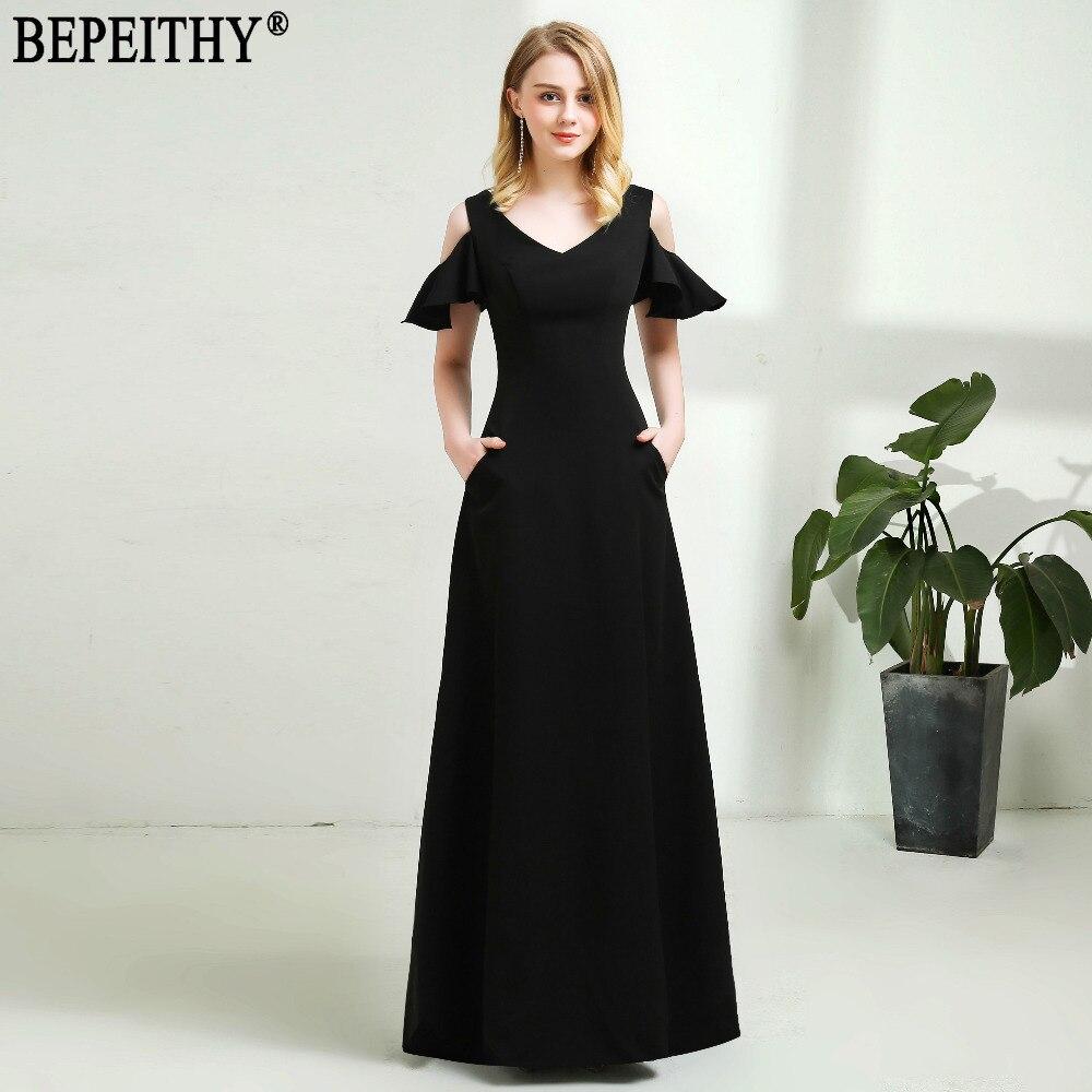 BEPEITHY robe De soirée Sexy nouveauté col en V noir robe De bal poche robes De soirée longues 2019