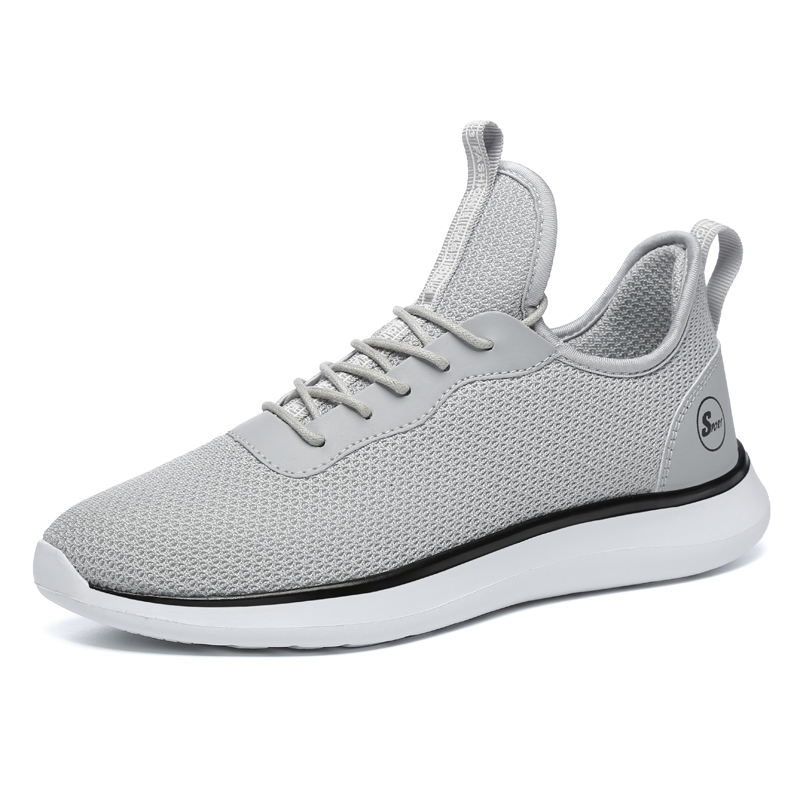 Mens Leisure Walking Shoes Mono Yarn Wearable Anti-Slip Sports Shoes Breathable Sneakers