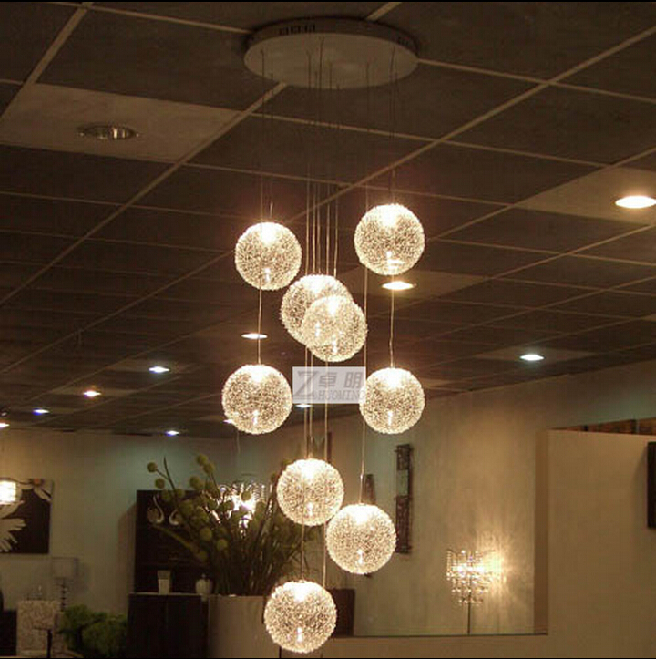 creative novel original design Dia 15cm 1/3/4/6/10/12/15 heads aluminum wire ball led e14 pendant light dining room bar lamp1561